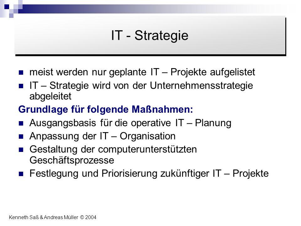IT - Strategie Inhalt. meist werden nur geplante IT – Projekte aufgelistet. IT – Strategie wird von der Unternehmensstrategie abgeleitet.