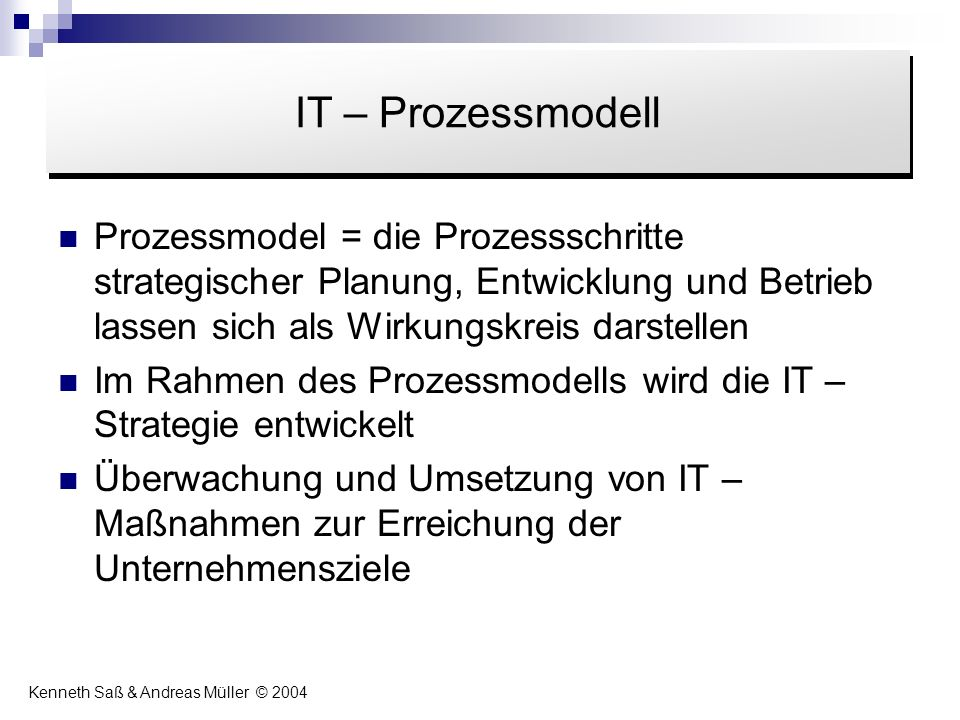 Inhalt IT – Prozessmodell