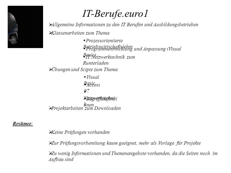 IT-Berufe.euro1 Allgemeine Informationen zu den IT Berufen und Ausbildungsbetrieben. Klassenarbeiten zum Thema.