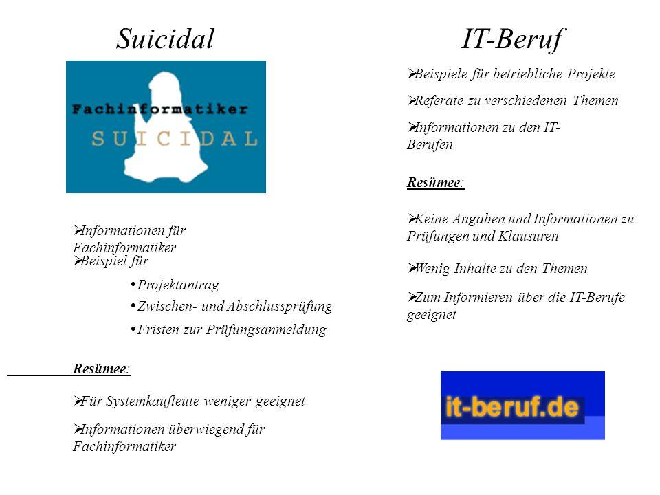 Suicidal IT-Beruf Beispiele für betriebliche Projekte