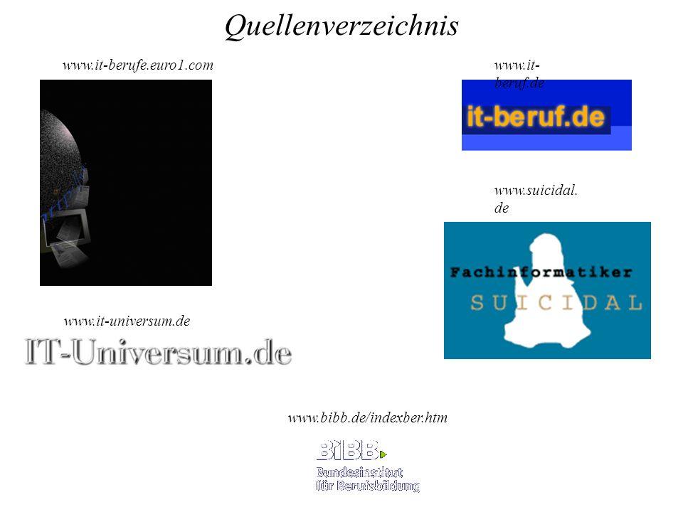 Quellenverzeichnis www.it-berufe.euro1.com www.it-beruf.de