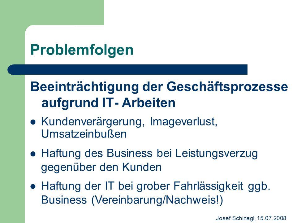 Problemfolgen Beeinträchtigung der Geschäftsprozesse aufgrund IT- Arbeiten. Kundenverärgerung, Imageverlust, Umsatzeinbußen.