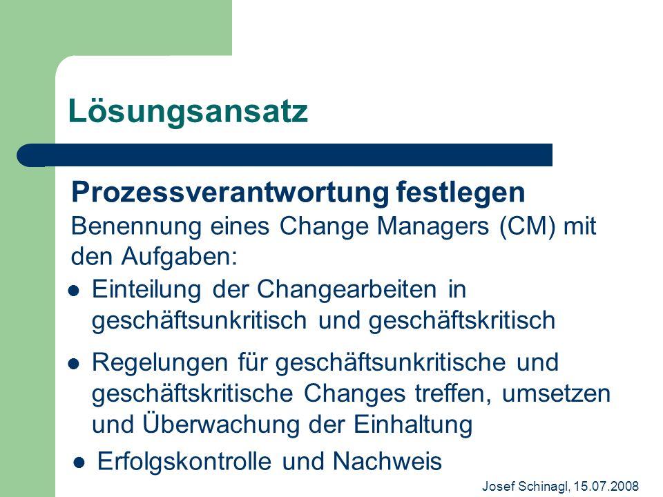 Lösungsansatz Prozessverantwortung festlegen Benennung eines Change Managers (CM) mit den Aufgaben: