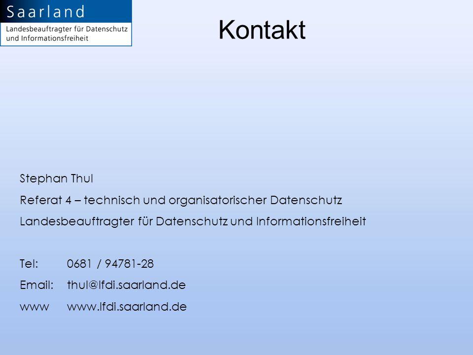 KontaktStephan Thul. Referat 4 – technisch und organisatorischer Datenschutz. Landesbeauftragter für Datenschutz und Informationsfreiheit.