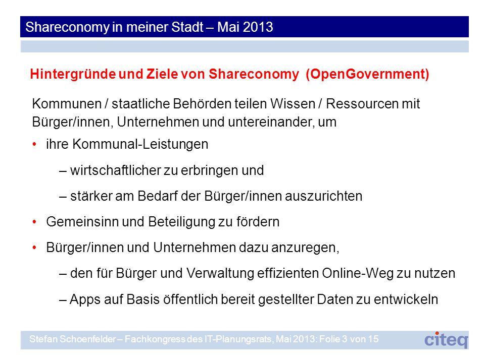 Shareconomy in meiner Stadt – Mai 2013