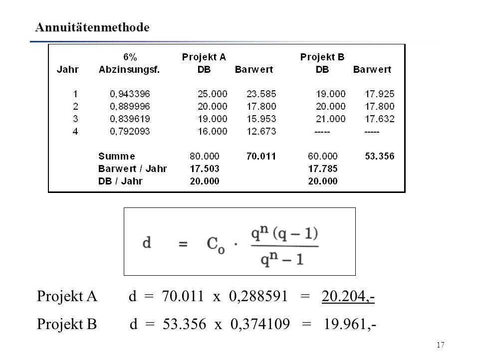 Annuitätenmethode Projekt A d = 70.011 x 0,288591 = 20.204,- Projekt B d = 53.356 x 0,374109 = 19.961,-