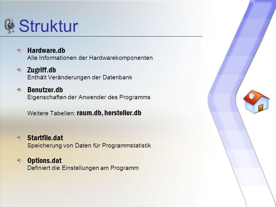 Struktur Hardware.db Alle Informationen der Hardwarekomponenten