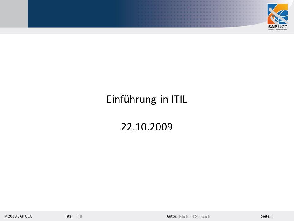 Einführung in ITIL 22.10.2009