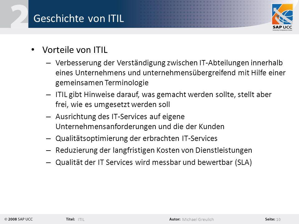 Geschichte von ITIL Vorteile von ITIL