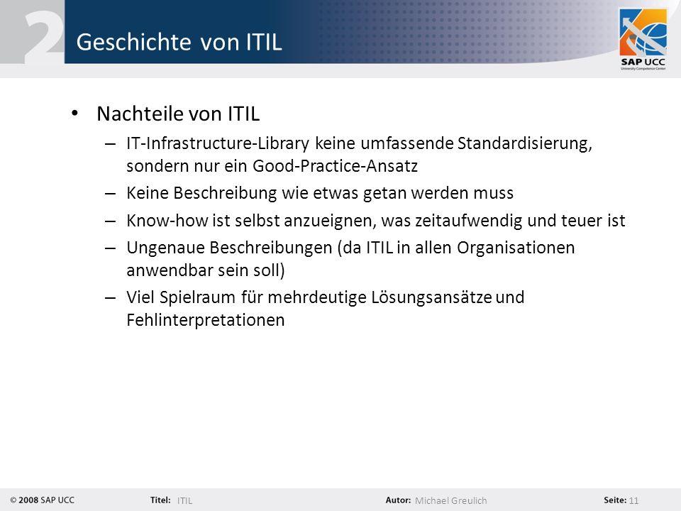 Geschichte von ITIL Nachteile von ITIL
