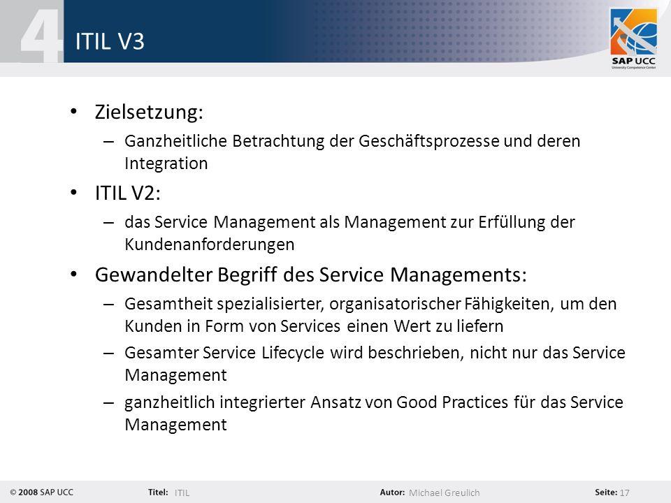ITIL V3 Zielsetzung: ITIL V2: