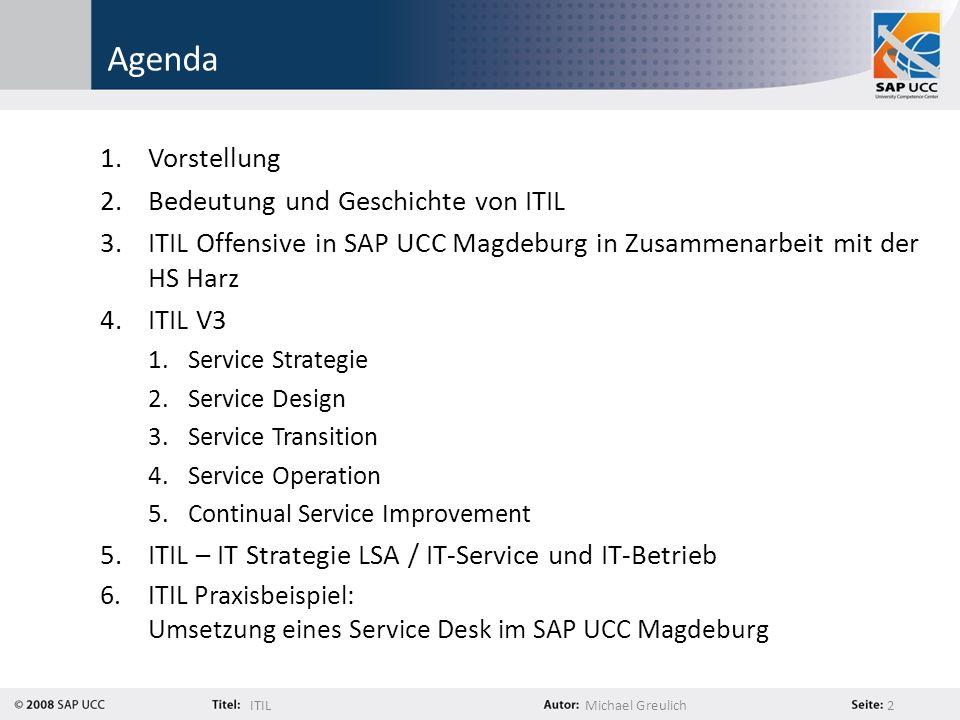 Agenda Vorstellung Bedeutung und Geschichte von ITIL