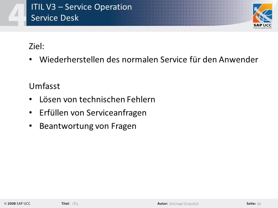 ITIL V3 – Service Operation Service Desk