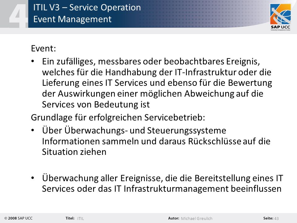 ITIL V3 – Service Operation Event Management