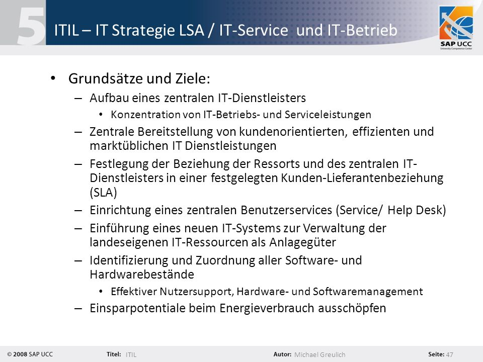 ITIL – IT Strategie LSA / IT-Service und IT-Betrieb