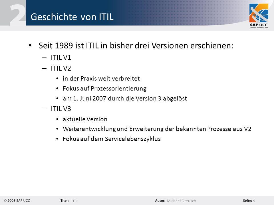 Geschichte von ITIL Seit 1989 ist ITIL in bisher drei Versionen erschienen: ITIL V1. ITIL V2. in der Praxis weit verbreitet.