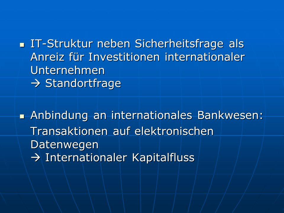 IT-Struktur neben Sicherheitsfrage als Anreiz für Investitionen internationaler Unternehmen  Standortfrage