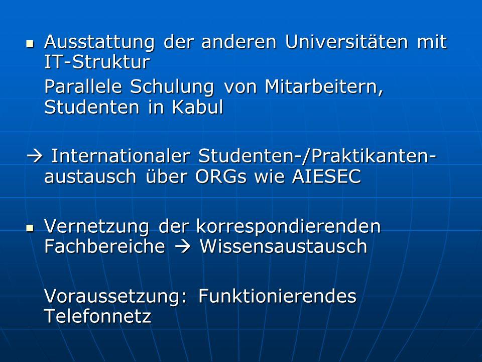 Ausstattung der anderen Universitäten mit IT-Struktur