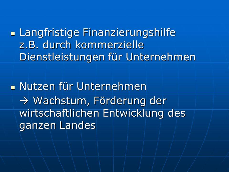 Langfristige Finanzierungshilfe z. B