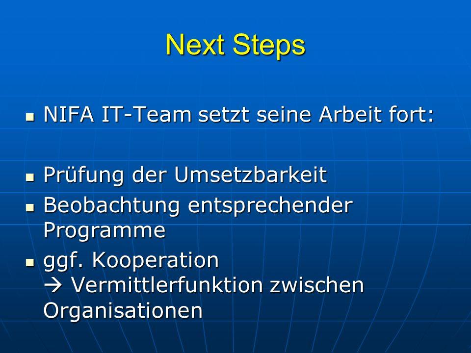 Next Steps NIFA IT-Team setzt seine Arbeit fort:
