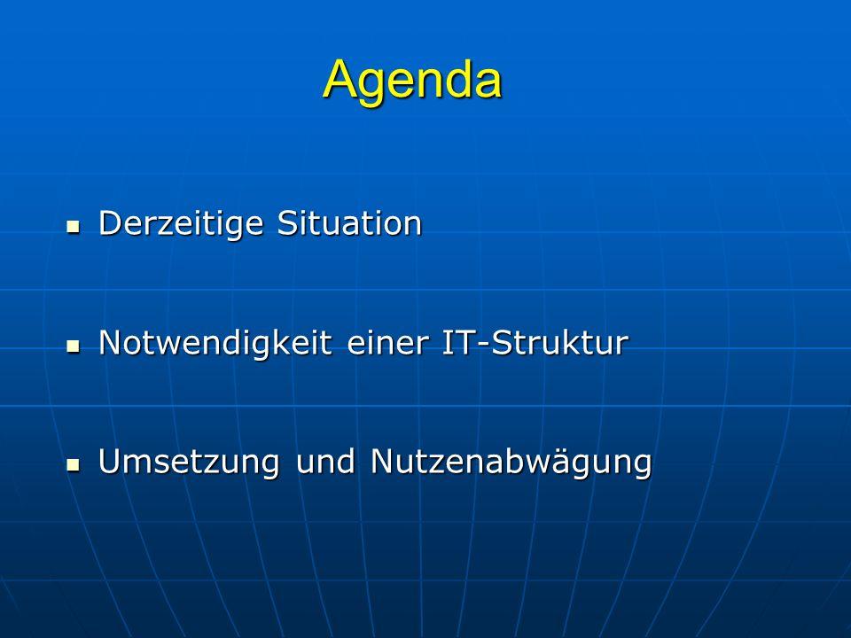 Agenda Derzeitige Situation Notwendigkeit einer IT-Struktur