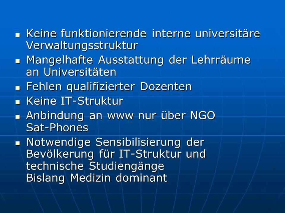 Keine funktionierende interne universitäre Verwaltungsstruktur