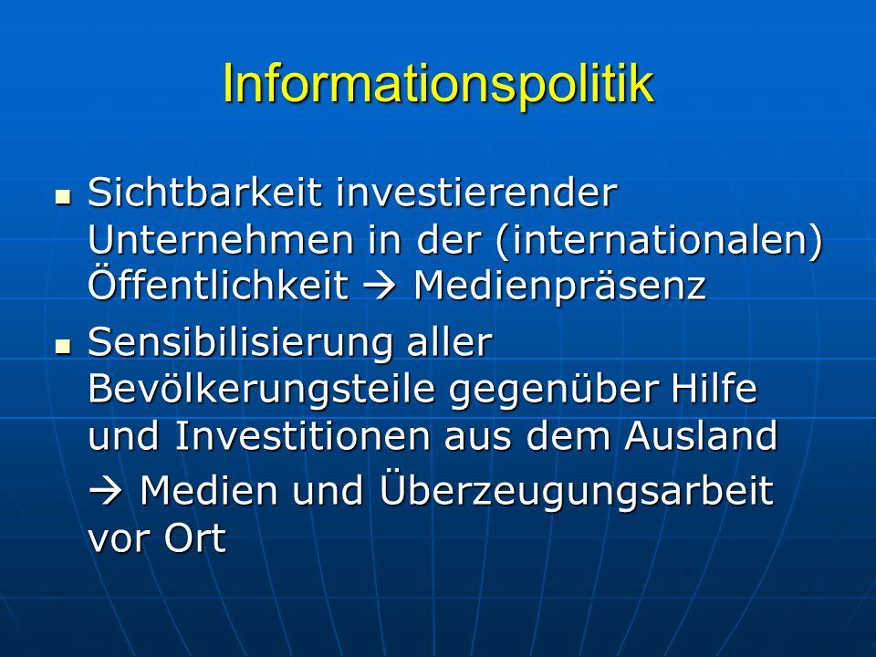 Informationspolitik Sichtbarkeit investierender Unternehmen in der (internationalen) Öffentlichkeit  Medienpräsenz.