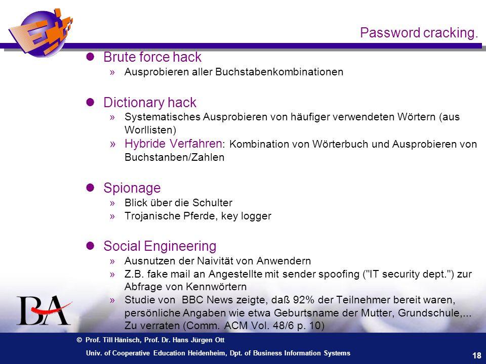 Password cracking. Brute force hack Dictionary hack Spionage