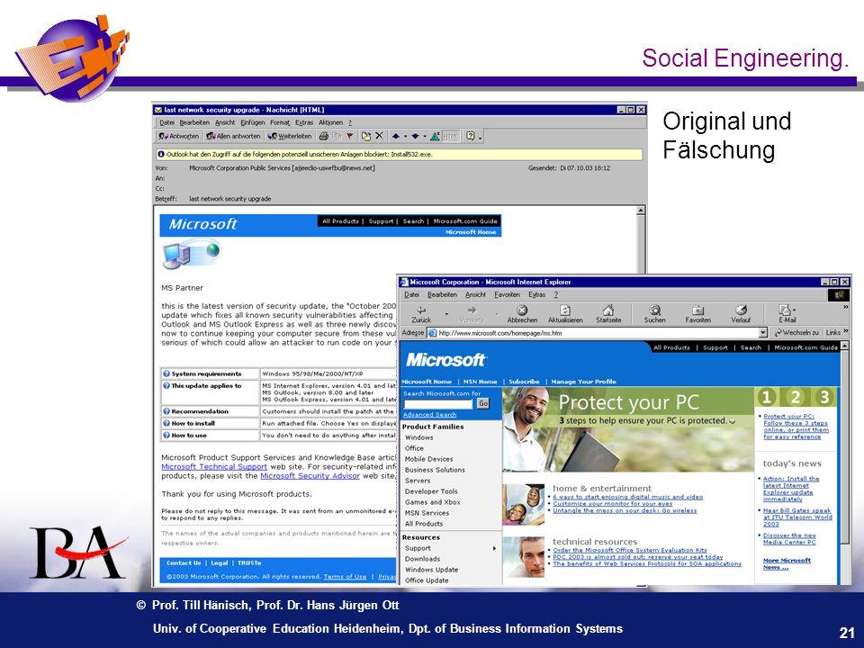Social Engineering. Original und Fälschung