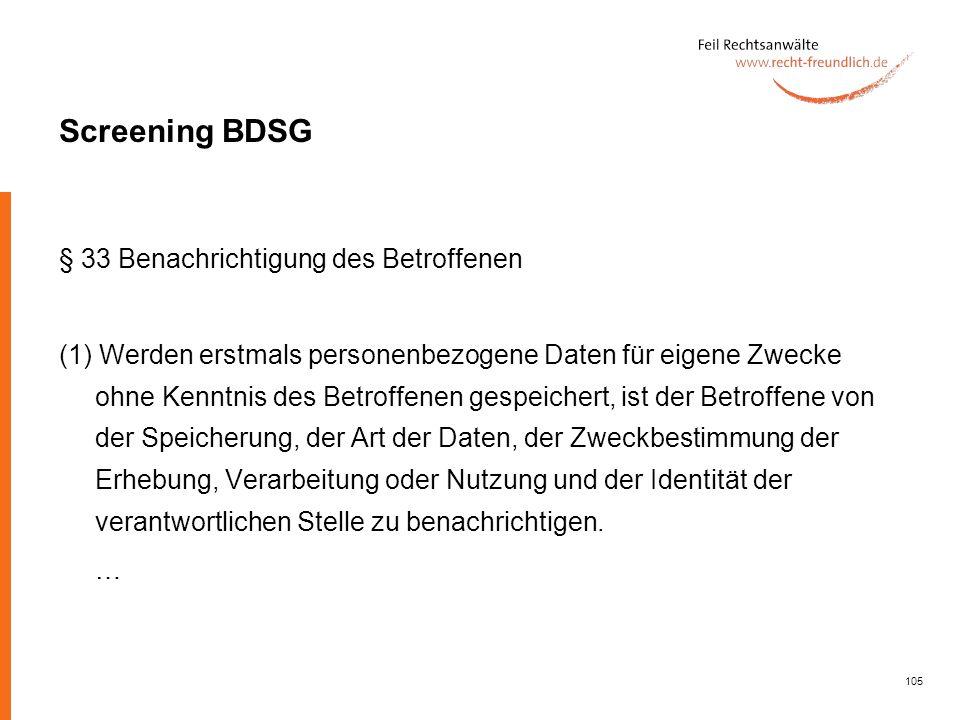 Screening BDSG § 33 Benachrichtigung des Betroffenen