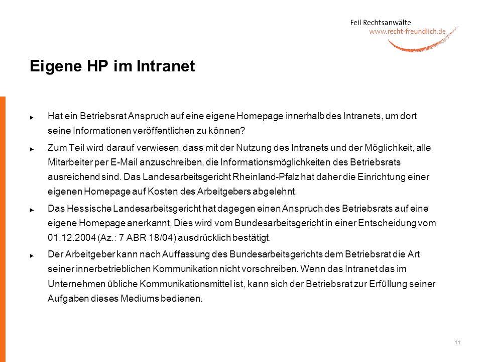 Eigene HP im Intranet