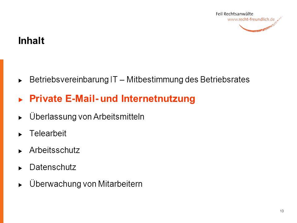 Private E-Mail- und Internetnutzung