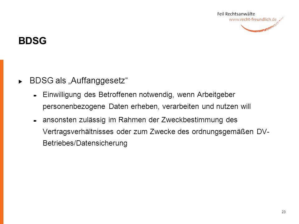 """BDSG BDSG als """"Auffanggesetz"""