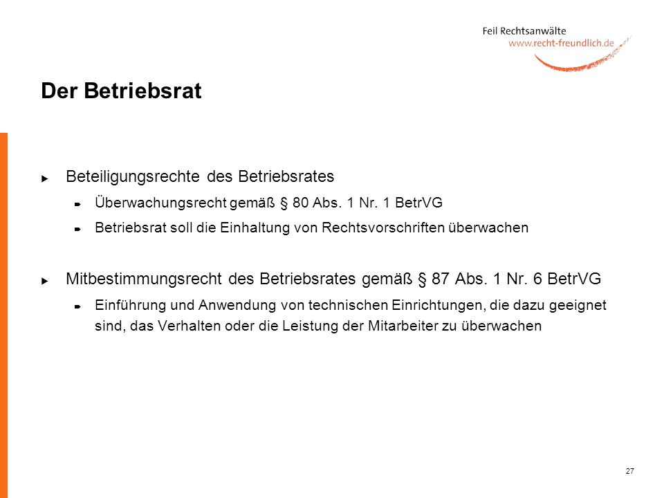 Der Betriebsrat Beteiligungsrechte des Betriebsrates