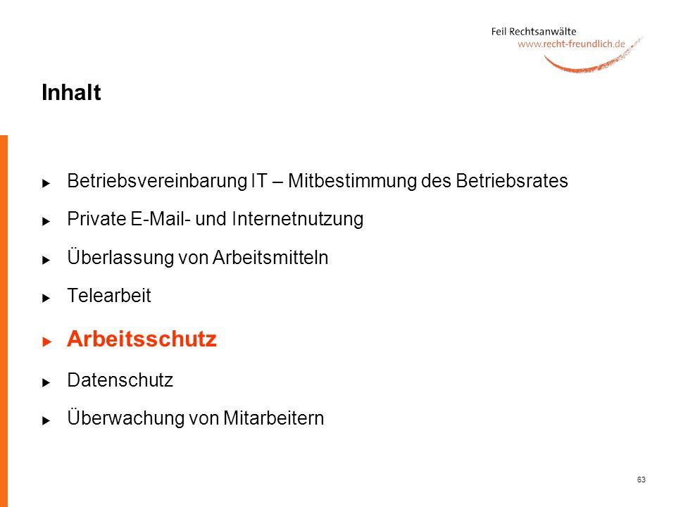 Inhalt Betriebsvereinbarung IT – Mitbestimmung des Betriebsrates. Private E-Mail- und Internetnutzung.