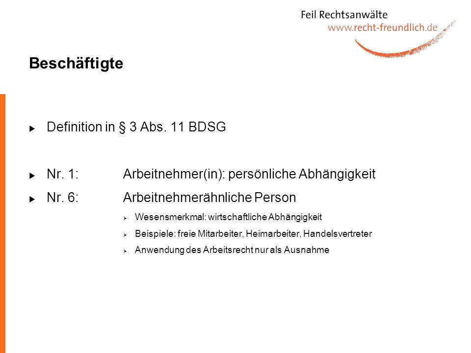Beschäftigte Definition in § 3 Abs. 11 BDSG
