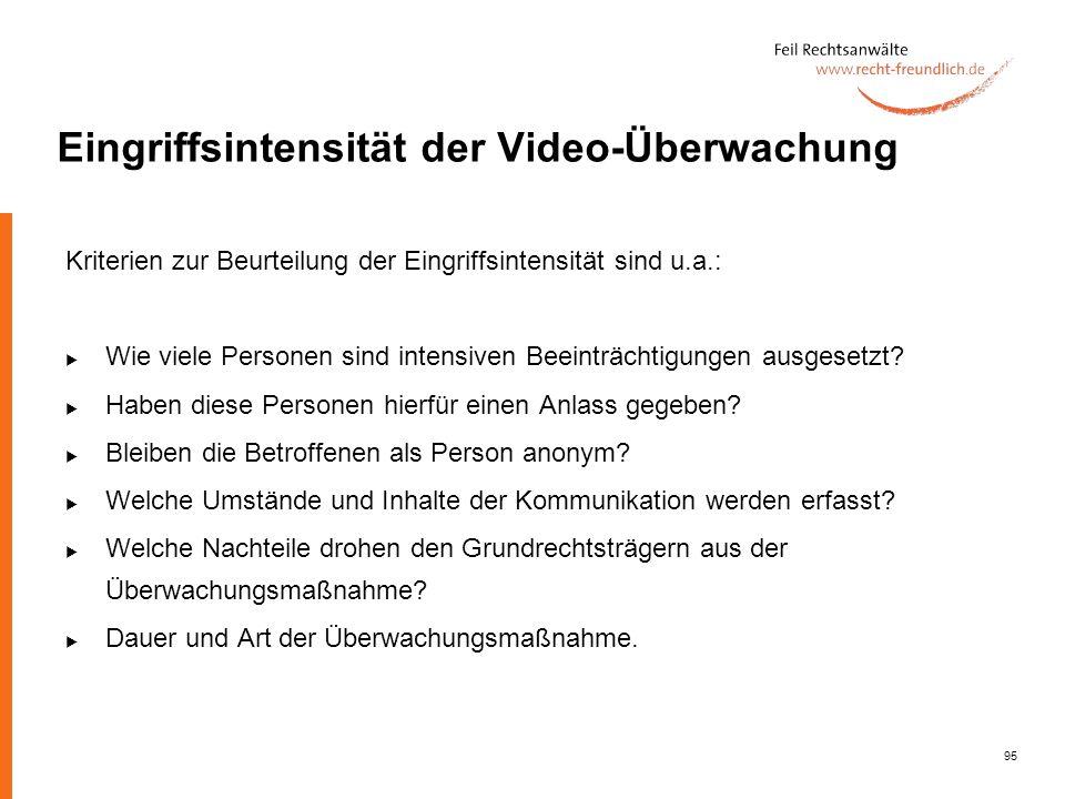 Eingriffsintensität der Video-Überwachung