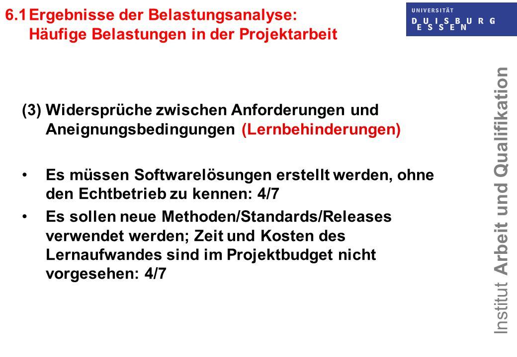 6.1 Ergebnisse der Belastungsanalyse: Häufige Belastungen in der Projektarbeit