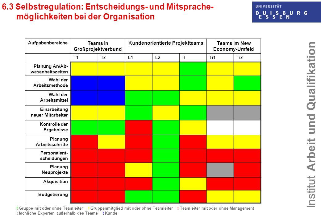 6.3 Selbstregulation: Entscheidungs- und Mitsprache- möglichkeiten bei der Organisation