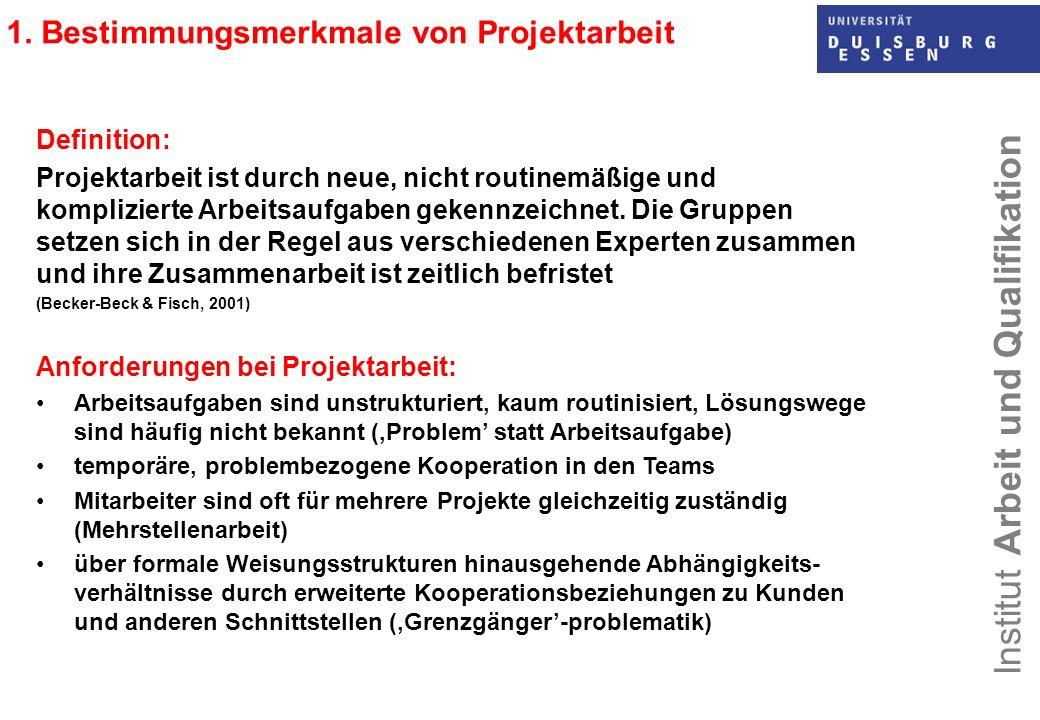 1. Bestimmungsmerkmale von Projektarbeit