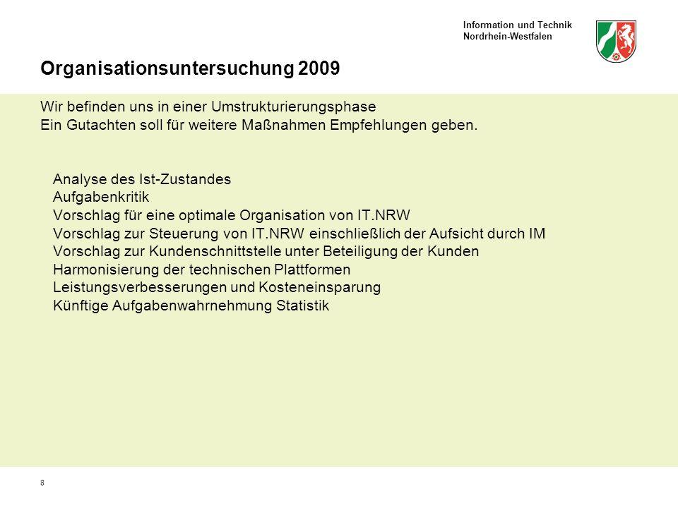 Organisationsuntersuchung 2009 Wir befinden uns in einer Umstrukturierungsphase Ein Gutachten soll für weitere Maßnahmen Empfehlungen geben.