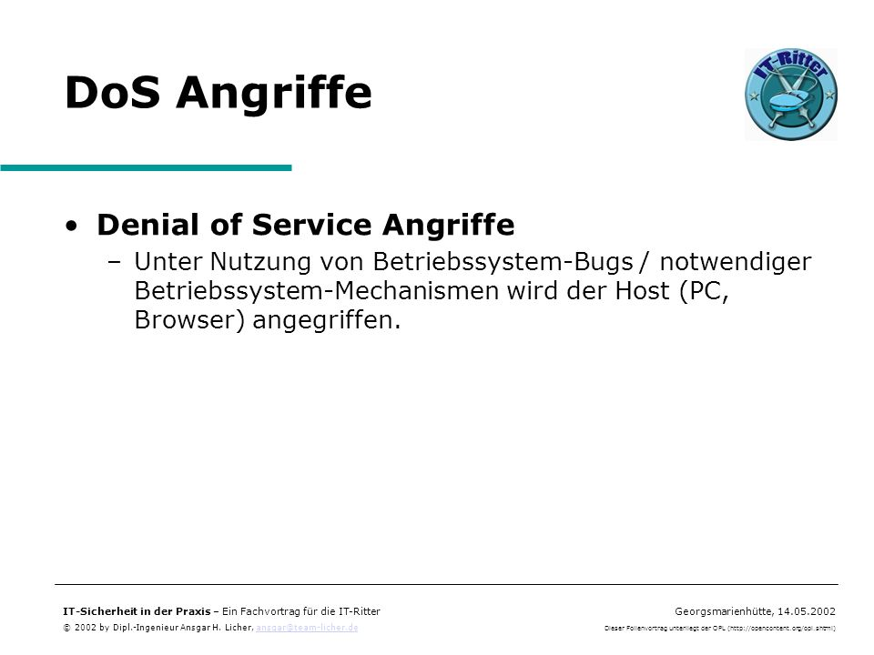 DoS Angriffe Denial of Service Angriffe