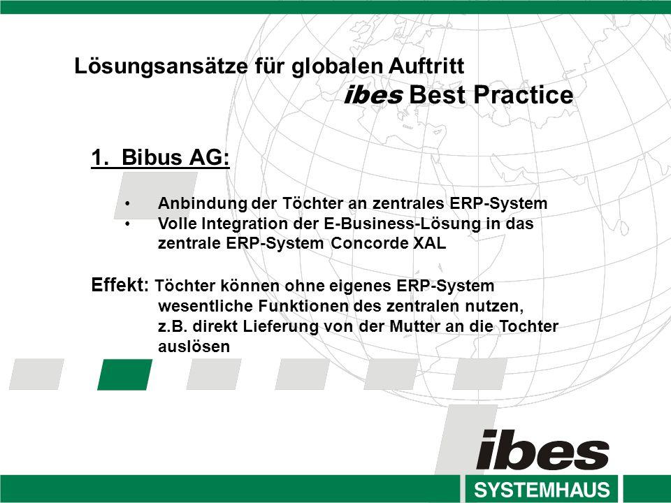 ibes Best Practice Lösungsansätze für globalen Auftritt 1. Bibus AG: