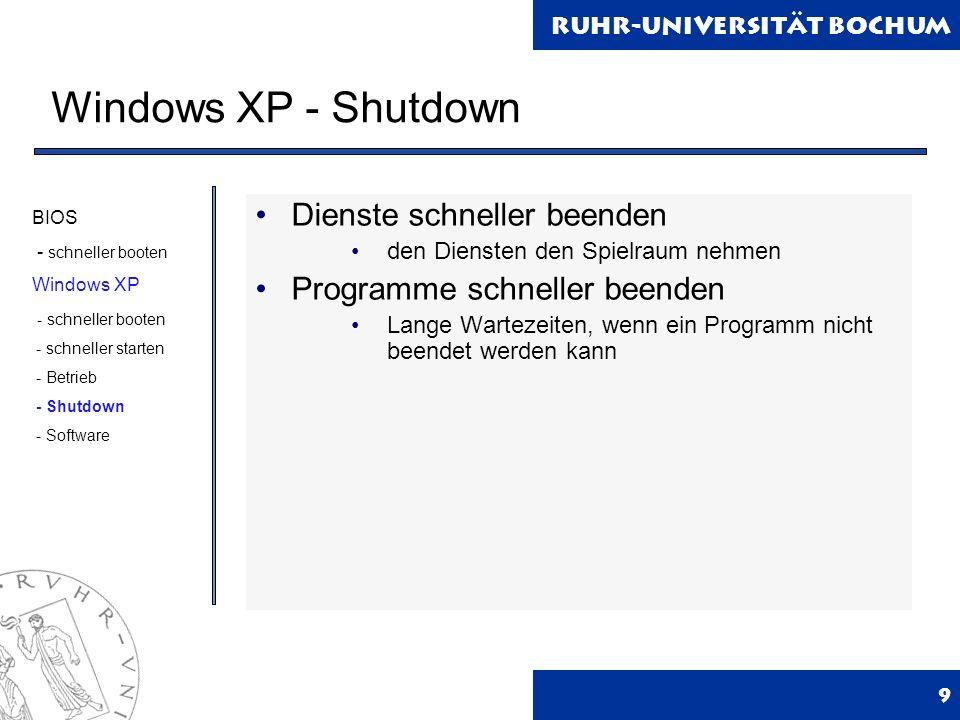 Windows XP - Shutdown Dienste schneller beenden