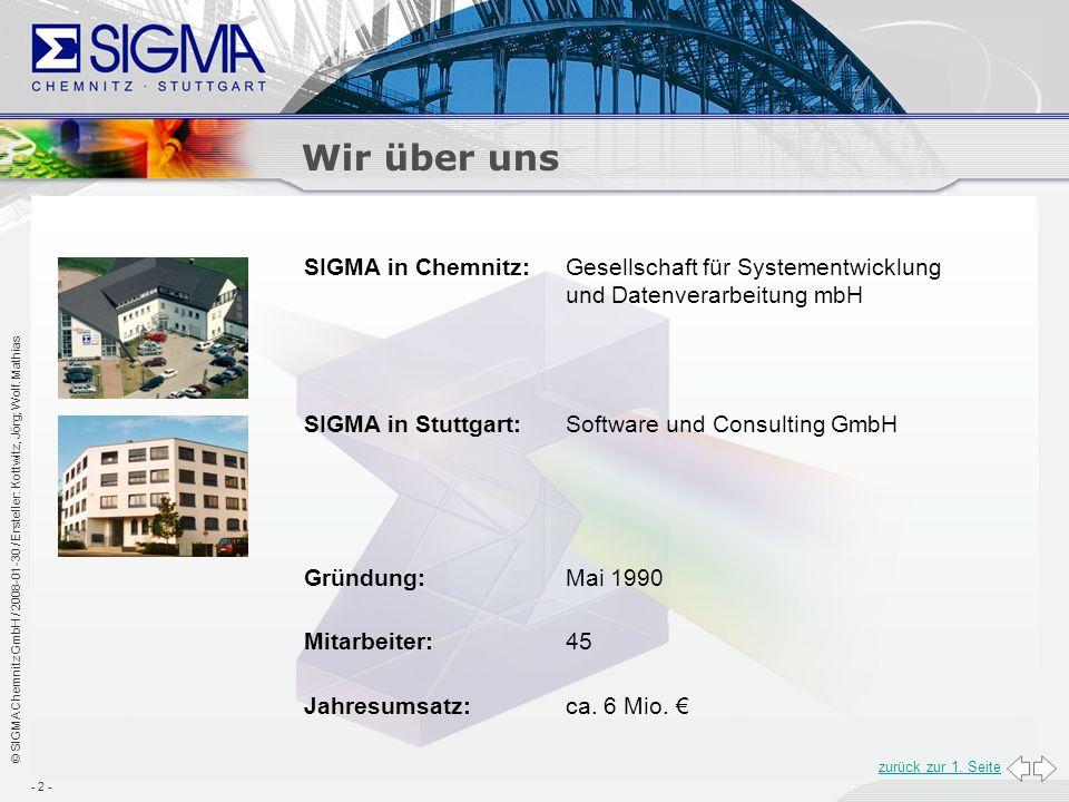 Wir über uns SIGMA in Chemnitz: Gesellschaft für Systementwicklung und Datenverarbeitung mbH. SIGMA in Stuttgart: Software und Consulting GmbH.