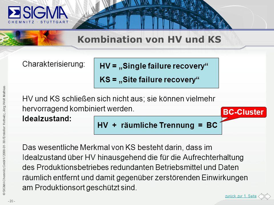 Kombination von HV und KS