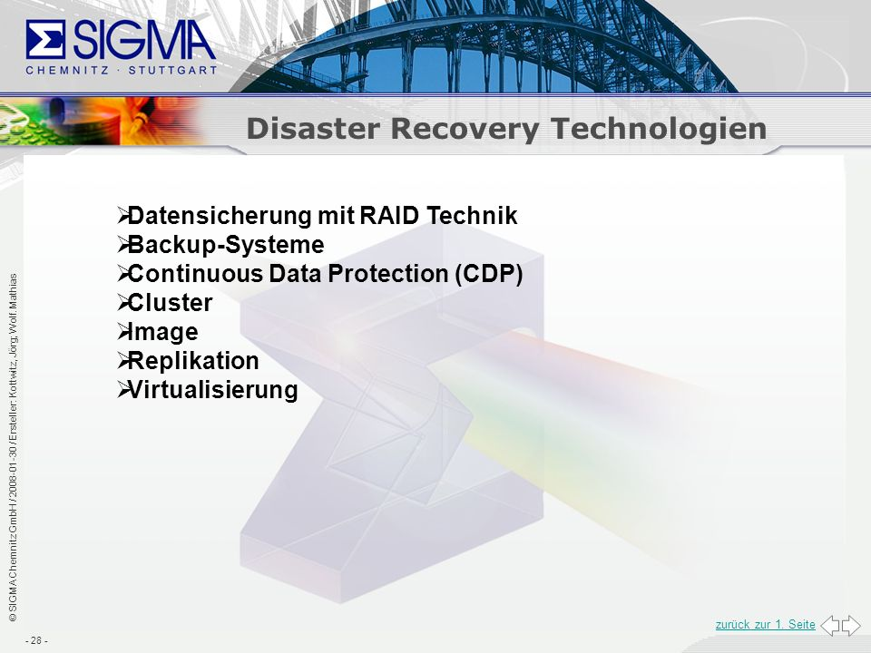 Disaster Recovery Technologien