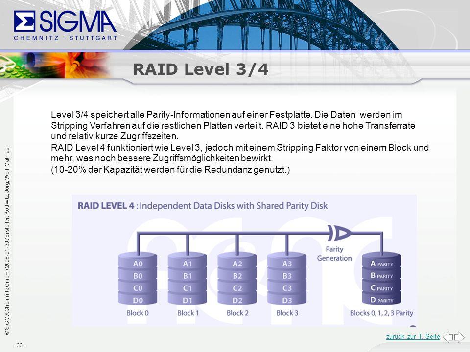 RAID Level 3/4