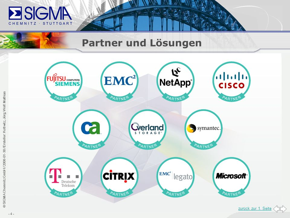 Partner und Lösungen Bitte hier einfügen als Partnerlogo: FSC, T-Systems; CITRIX, Netapp, EMC2, Tandberg, CA, Symantec, Legato, Overland CISCO.