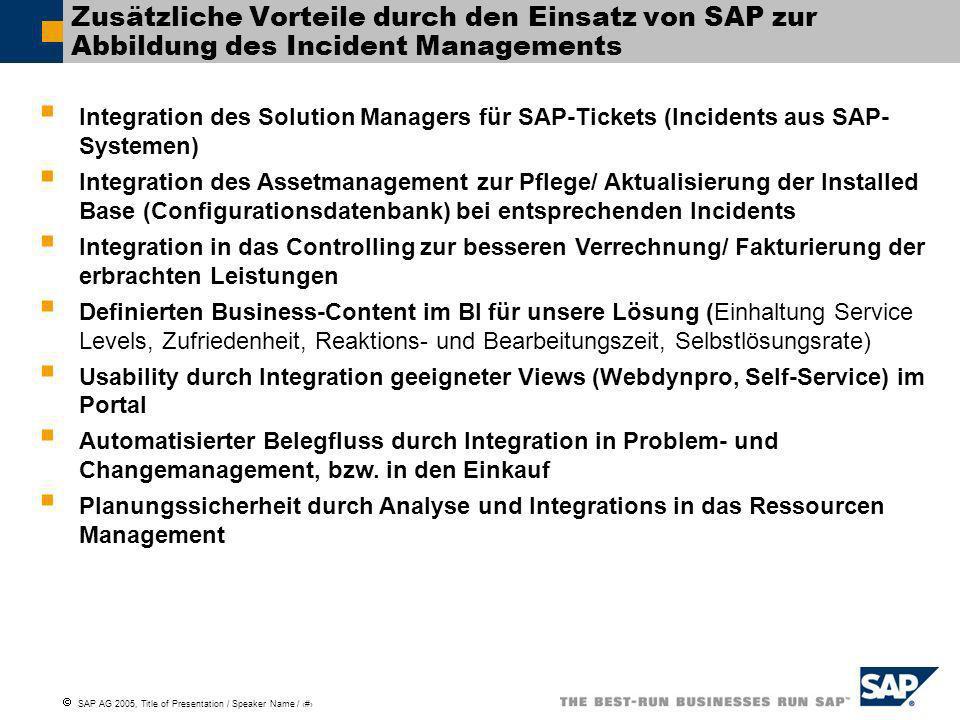 Zusätzliche Vorteile durch den Einsatz von SAP zur Abbildung des Incident Managements